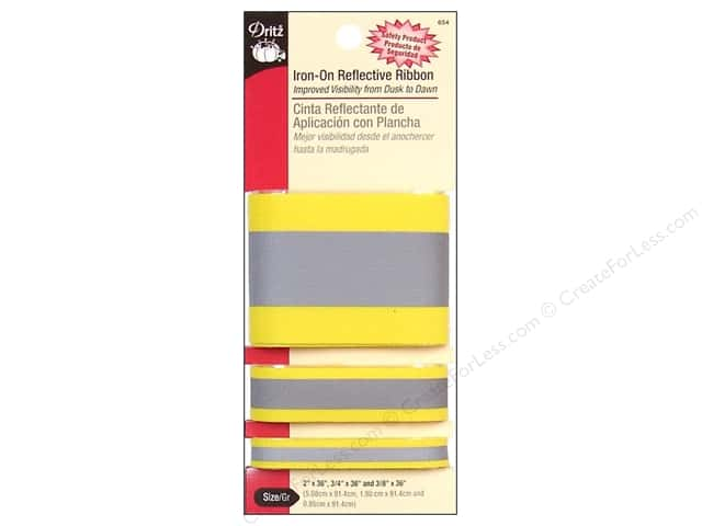 Iron-On Reflective Ribbon by Dritz Yellow