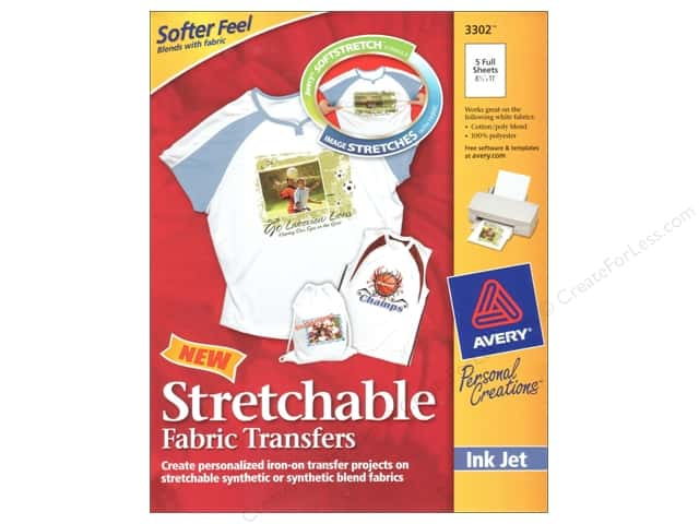 Avery Fabric Transfers for Inkjet Printers 8 1/2 x 11 in. Stretchable 5 pc.