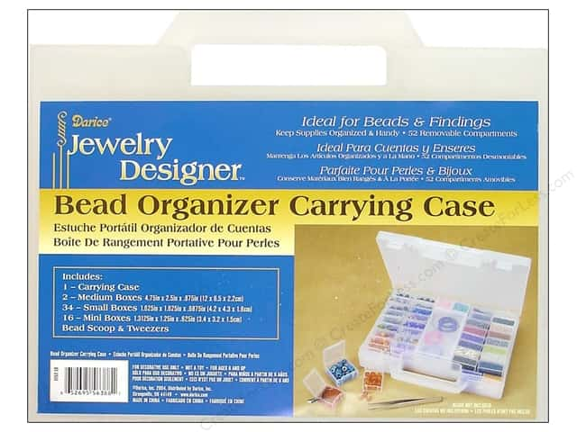 Darice Storage Case 9 7/8 x 7 1/8 x 1 7/8 in. with Scoop and Tweezers 55 pc.