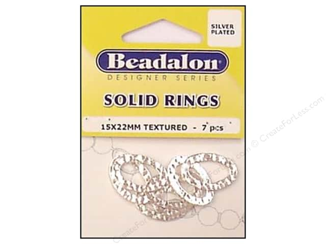 Beadalon Solid Rings 15 x 22 mm Textured Silver 7 pc.