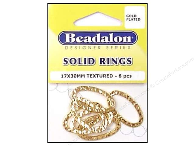 Beadalon Solid Rings 17 x 30 mm Textured Gold 6 pc.