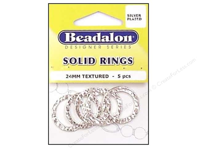 Beadalon Solid Rings 24 mm Textured Silver 5 pc.