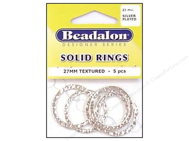 Beadalon Solid Rings 27 mm Textured Silver 5 pc.