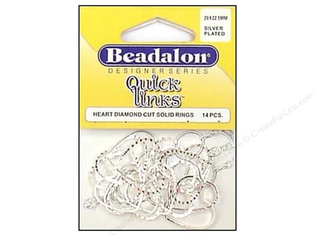 Beadalon Quick Links Heart Diamond Cut 19 x 21 mm Silver Plated 14 pc.
