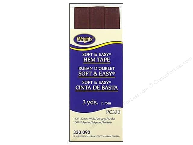 Wrights Soft & Easy Hem Tape 3 yd. Seal Brown