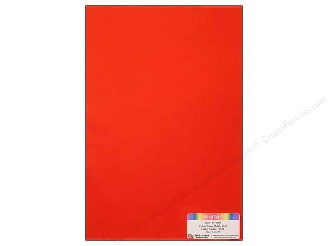 National Nonwovens WoolFelt 12 x 18 in. 35% Bright Red (10 sheets)