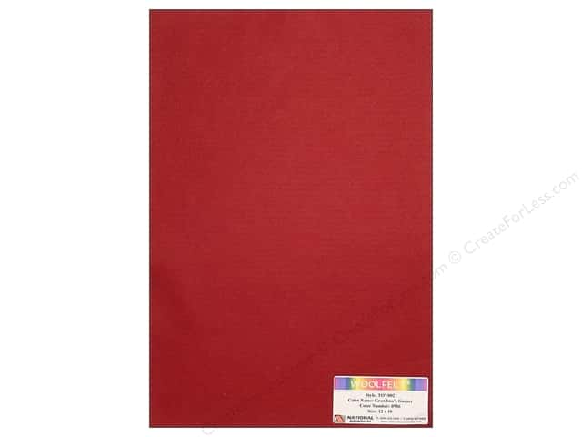 National Nonwovens WoolFelt 12 x 18 in. 35% Grandmas Garnet (10 sheets)