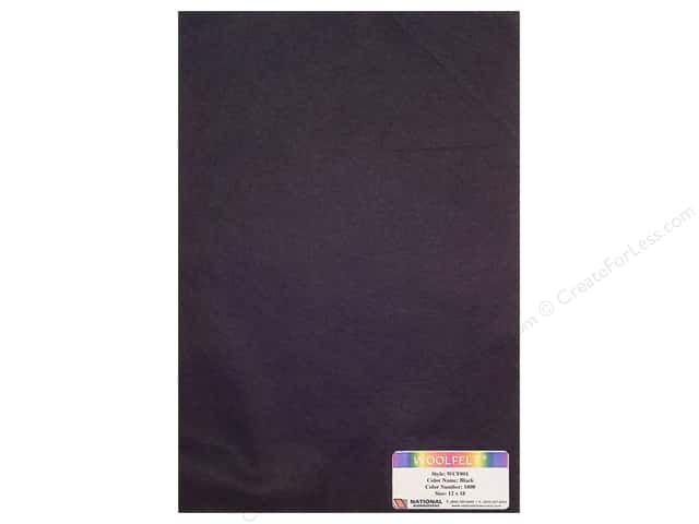 National Nonwovens 35% Wool Felt 12 x 18 in. Black (10 sheets)
