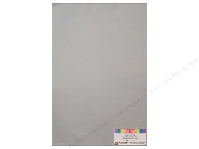 National Nonwovens 35% Wool Felt 12 x 18 in. Silver Grey (10 sheets)