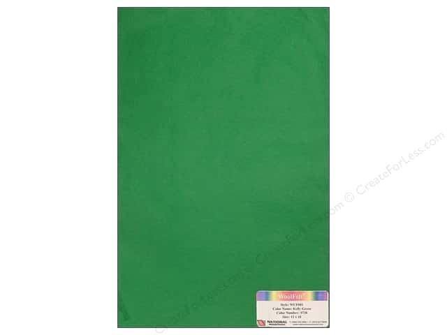 National Nonwovens 20% Wool Felt 12 x 18 in. Kelly Green