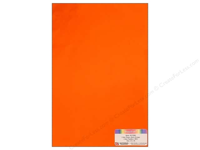 National Nonwovens 20% Wool Felt 12 x 18 in. Dark Orange