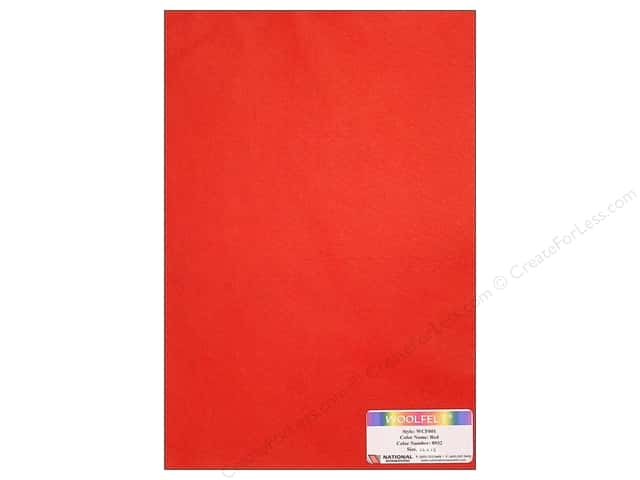 National Nonwovens 20% Wool Felt 12 x 18 in. Red