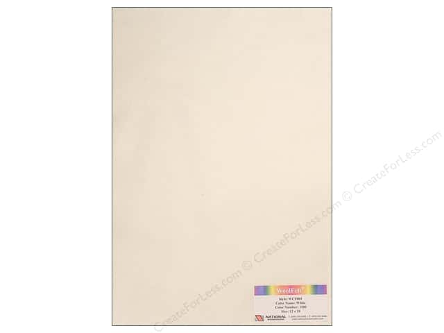 National Nonwovens 20% Wool Felt 12 x 18 in. White