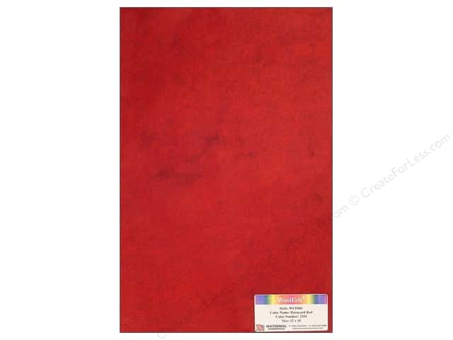 National Nonwovens 20% Wool Felt 12 x 18 in. Barnyard Red