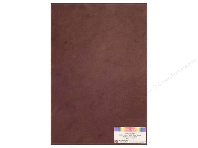 National Nonwovens 20% Wool Felt 12 x 18 in. Teddy Bear Brown