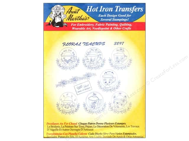 Aunt Martha's Hot Iron Transfer #3897 Floral Teacups