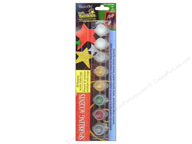 DecoArt Craft Twinkles Paint Pot 8-Color Sparkling Accents