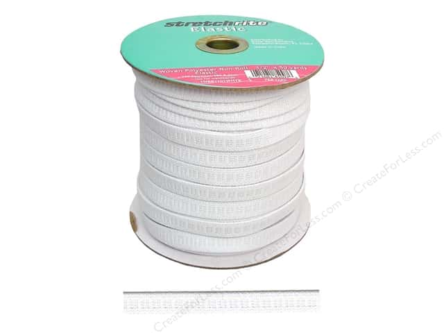 Stretchrite Non-Roll Flat Elastic 1/2 in. x 50 yd. White (50 yards)