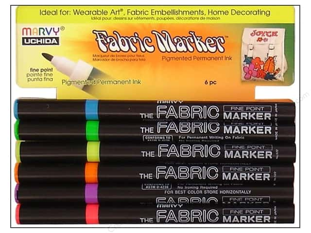 Marvy Uchida Fabric Marker Fine Tip Set 6 pc. Fluorescent