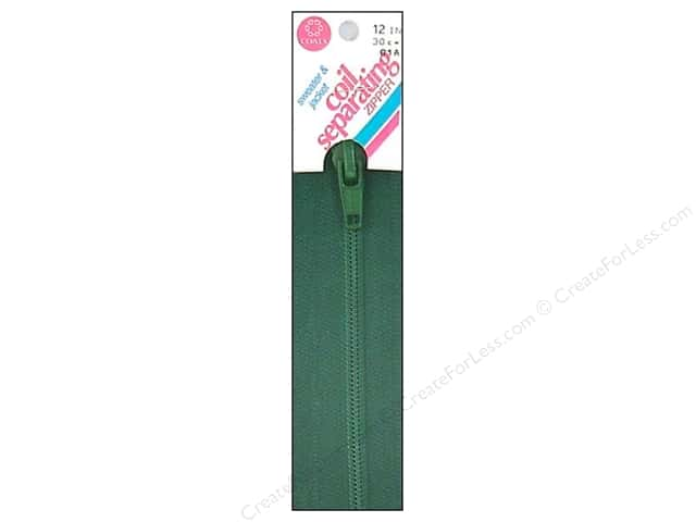 Coats Sweater & Jacket Coil Separating Zipper 12 in. #61a Forest Green