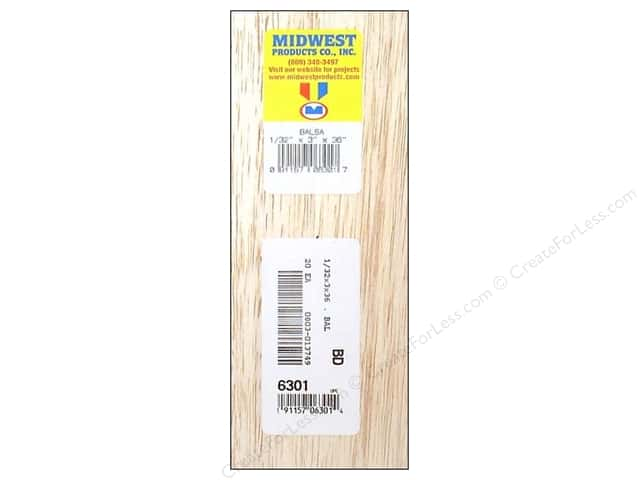 Midwest Balsa Wood Strips 1/32 x 3 x 36 in. (20 pieces)