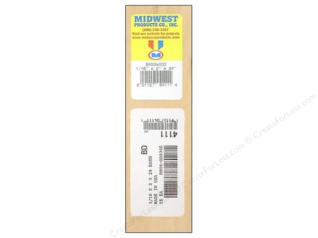Midwest Basswood Sheet 1/16 x 2 x 24 in. (15 pieces)