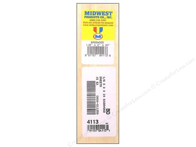Midwest Basswood Sheet 1/8 x 2 x 24 in. (15 pieces)
