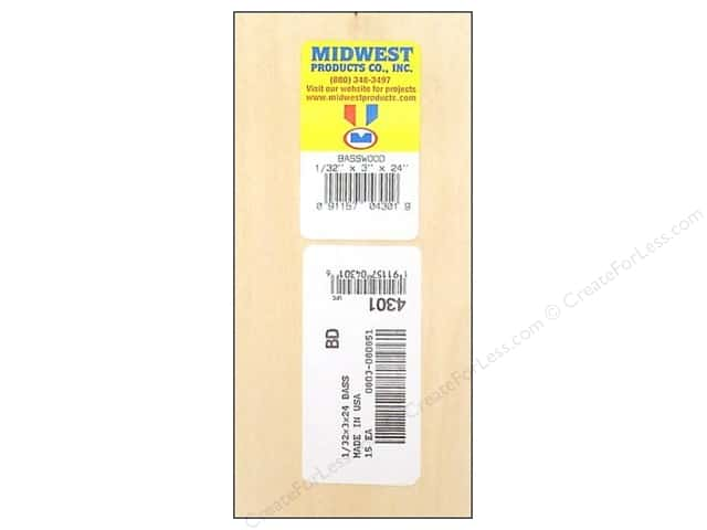 Midwest Basswood Sheet 1/32 x 3 x 24 in. (15 pieces)