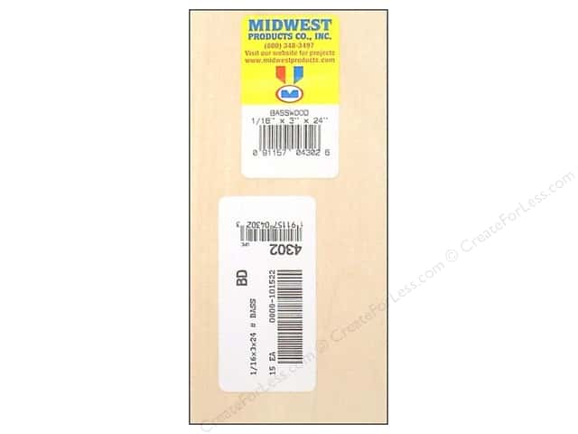 Midwest Basswood Sheet 1/16 x 3 x 24 in.