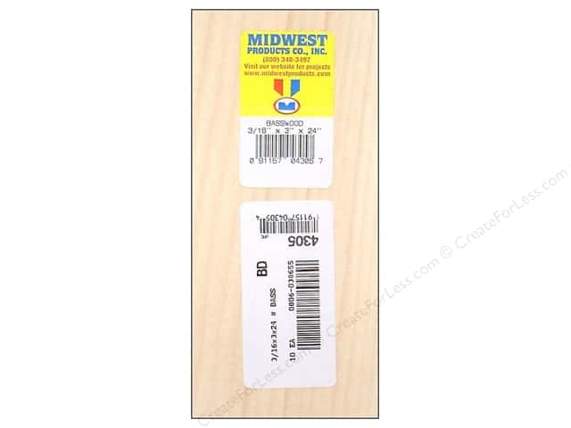 Midwest Basswood Sheet 3/16 x 3 x 24 in. (10 pieces)