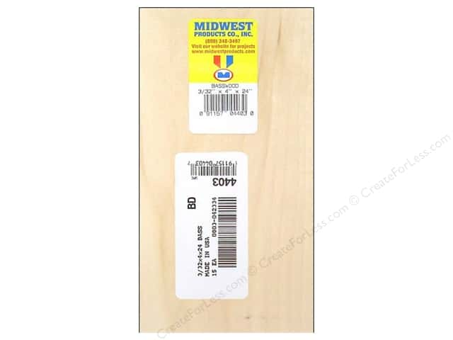 Midwest Basswood Sheet 3/32 x 4 x 24 in. (15 pieces)