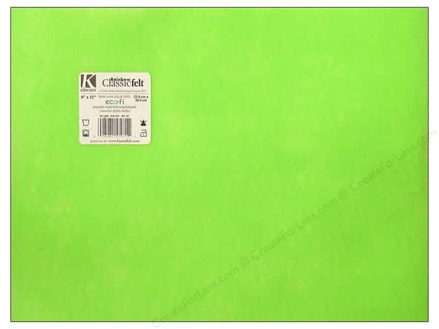 Kunin Felt 9 x 12 in. Neon Green (24 sheets)