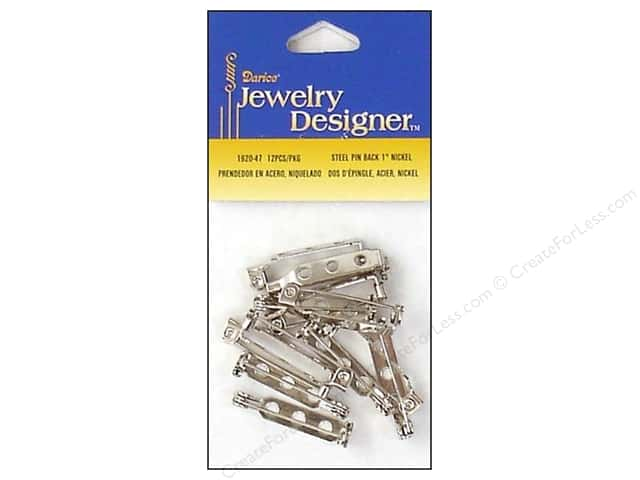 Darice Jewelry Designer Pin Backs 1 in. Nickel 10 pc.