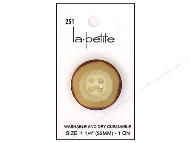LaPetite 4 Hole Buttons 1 1/4 in. Tan/Brown #251 1pc.