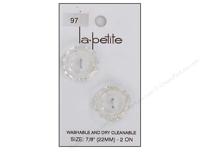 LaPetite 2 Hole Buttons 7/8 in. Crystal/Gold #97 2pc.