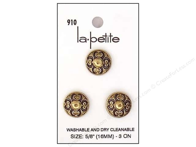 LaPetite Shank Buttons 5/8 in. Antique Gold #910 3pc.
