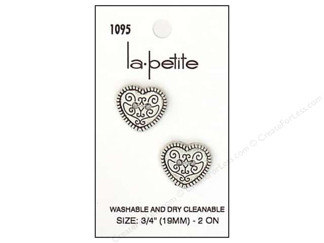 LaPetite 2 Hole Buttons 3/4 in. Silver Heart #1095 2pc.