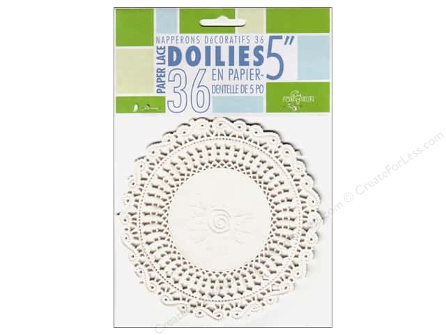 "Fox Run Craftsmen Paper Doily 5"" Round 36 pc White"