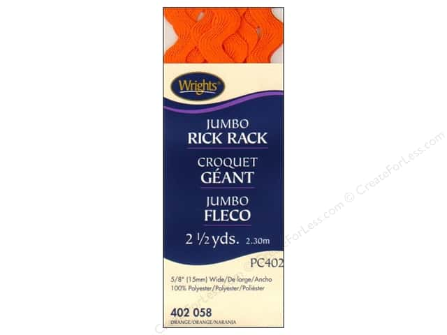 Wrights Jumbo Rick Rack 2 1/2 yd. Orange