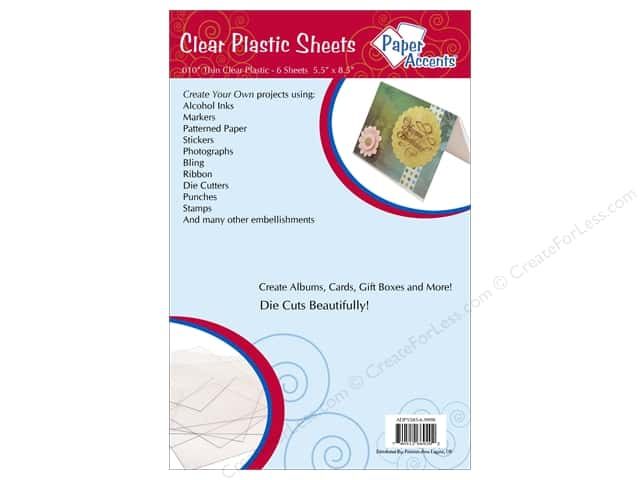 Plastic Sheet  5 1/2  x 8 1/2  in. by Paper Accents Clear .01 in. 6 pc.