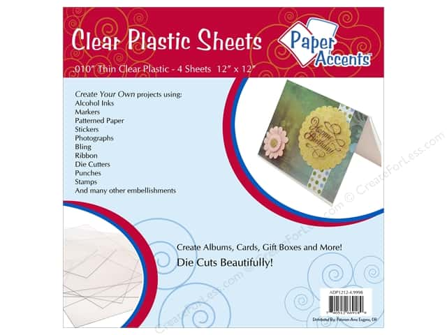 Plastic Sheet 12 x 12 in. by Paper Accents Clear .01 in. 4 pc.