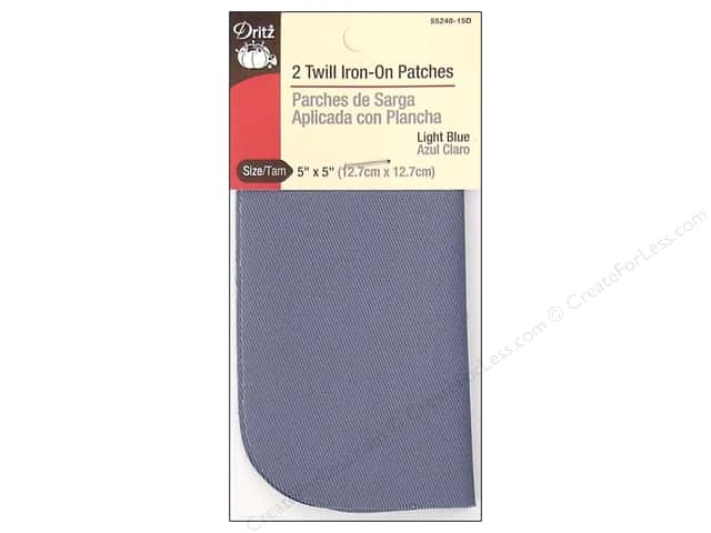 Twill Iron On Patches by Dritz 2 pc. Light Blue 5 x 5 in.