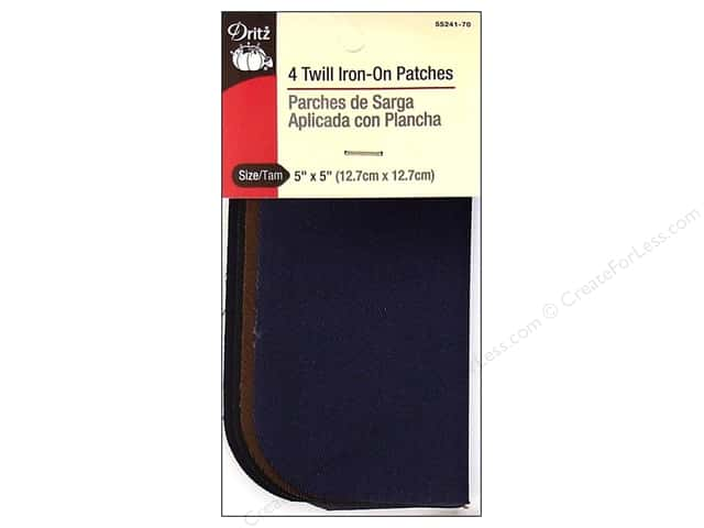 Twill Iron On Patches by Dritz 4 pc. Dark Assorted 5 x 5 in.