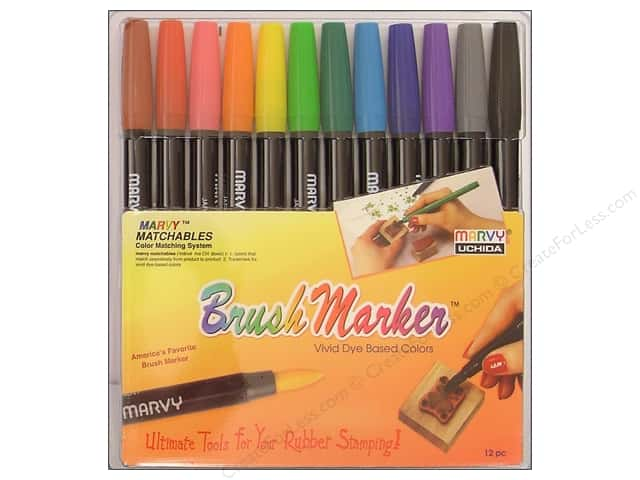 Marvy Uchida Brush Art Markers Set 12 pc. Primary