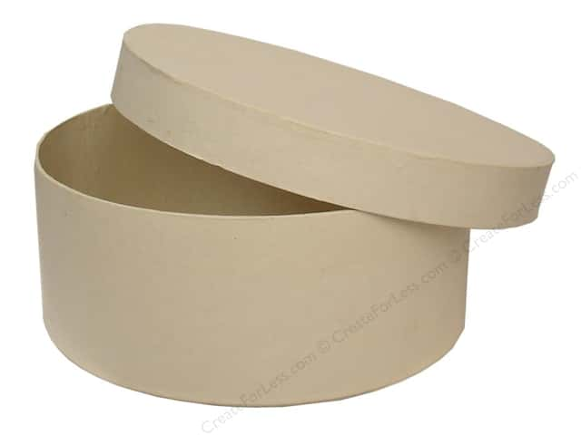 Paper Mache Round Box 7 1/2 in. Vanilla by Craft Pedlars (12 boxes)