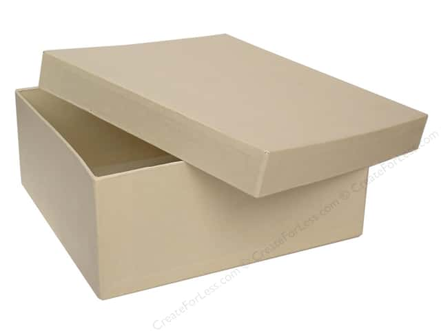 PA Paper Mache Square Box 7 1/2 in. Vanilla (12 boxes)