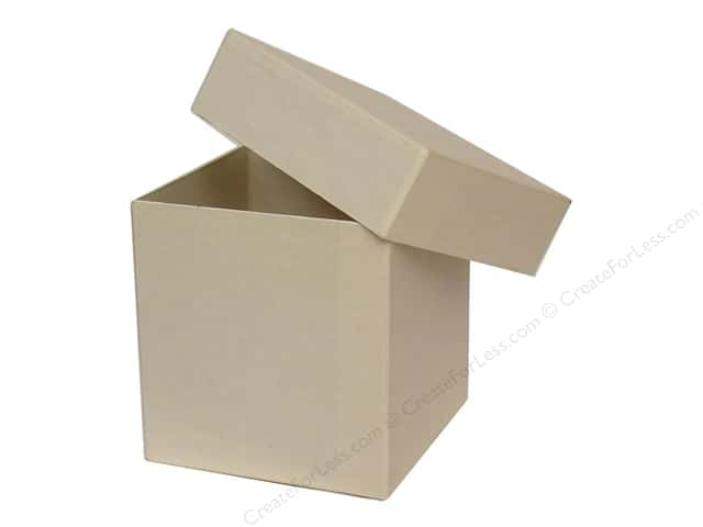 Paper Mache Tall Square Box 4 in. Vanilla by Craft Pedlars (12 pieces)