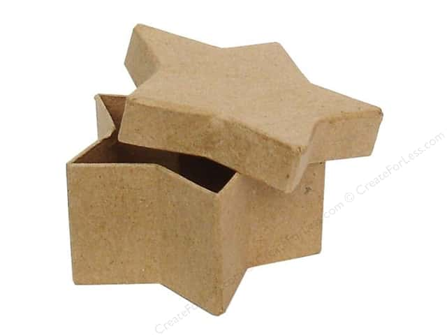 Paper mache mini star box by craft pedlars 36 pieces for Craft paper mache boxes