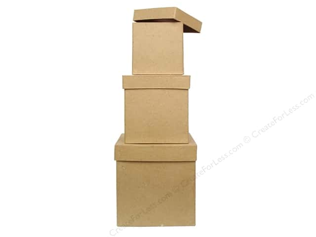 PA Paper Mache Large Tall Square Box Set of 3 (8 sets)