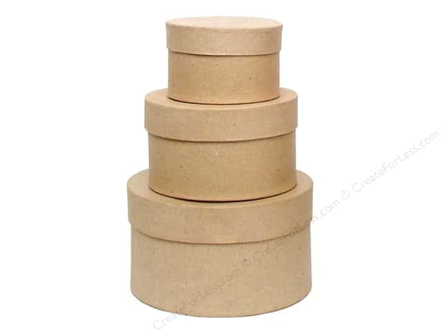 PA Paper Mache Small Round Box Set of 3 (12 sets)